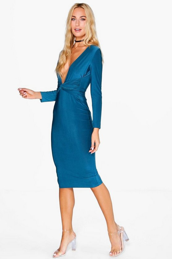 Kate Slinky Plunge Neck Knot Waist Midi Dress