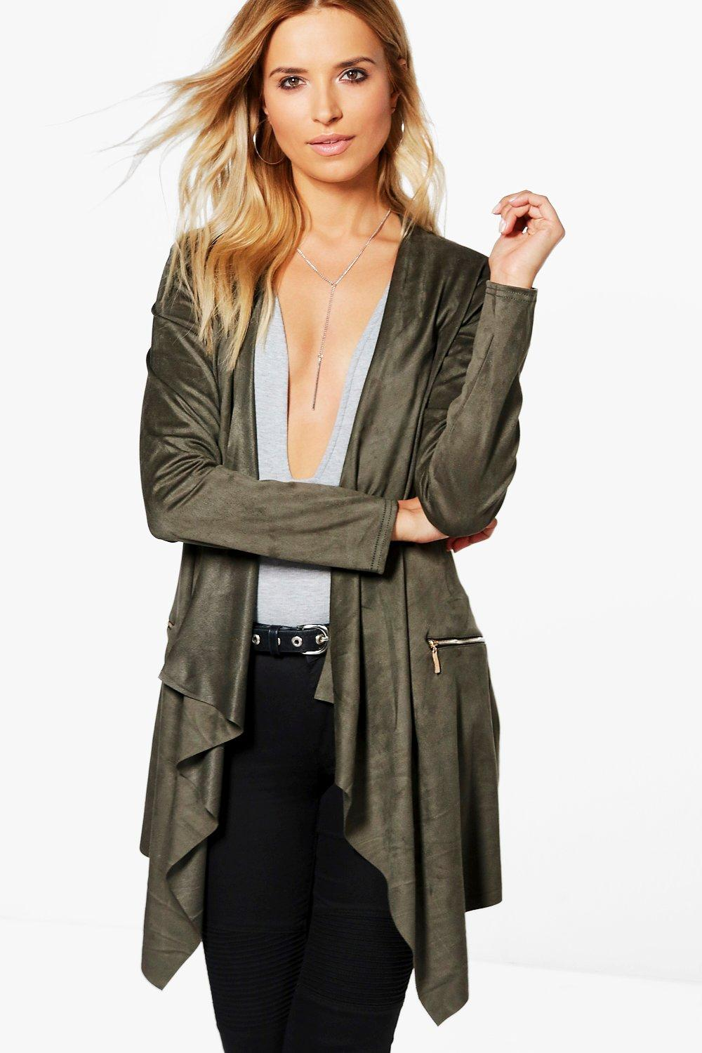 Polly Suedette Zip Pocket Waterfall Jacket