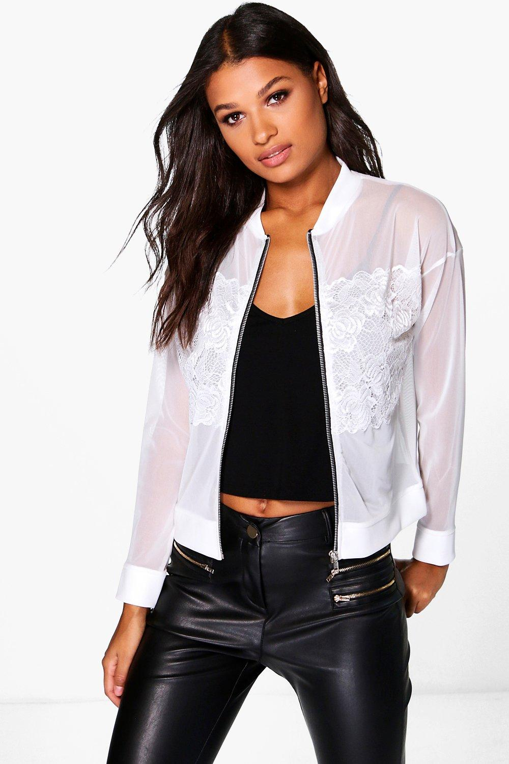 Michelle Lace Panel Mesh Bomber