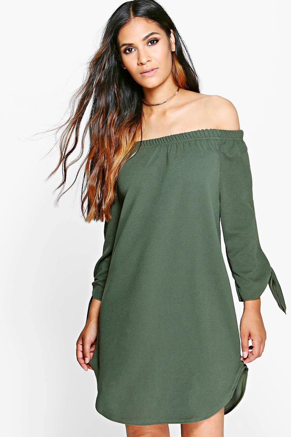 Cesca Off Shoulder Tie Sleeve Shift Dress