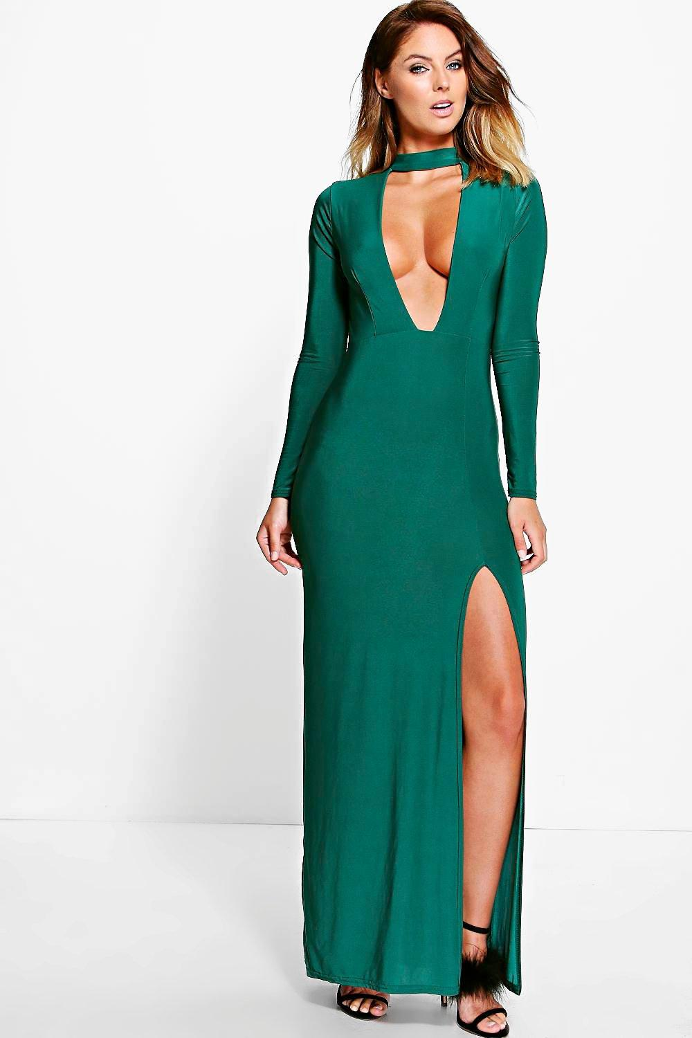Rezy Choker Long Sleeved Slinky Maxi Dress