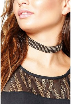 Hollie Faux Suede Pin Heap Stud Choker