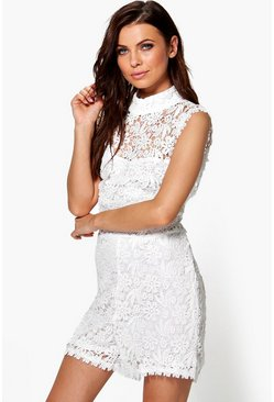 Emily All Over Lace High Neck Playsuit