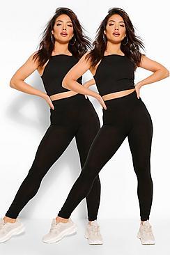 Confezione con 2 paia legging basic a vita alta