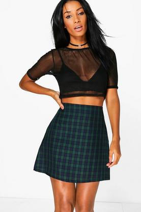 Lexie Tartan Check Woven A Line Mini Skirt