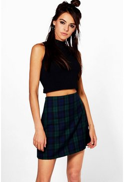 Loretta Tartan Check Woven A Line Mini Skirt
