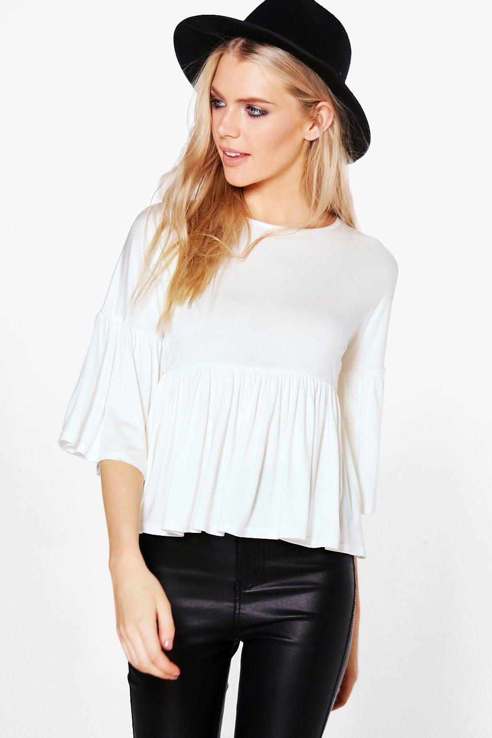 Carmel Oversized Frill Sleeve Crop Top