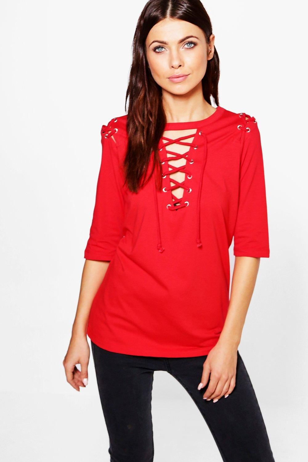 1/2 Lace Up Front And Shoulder Tee - red