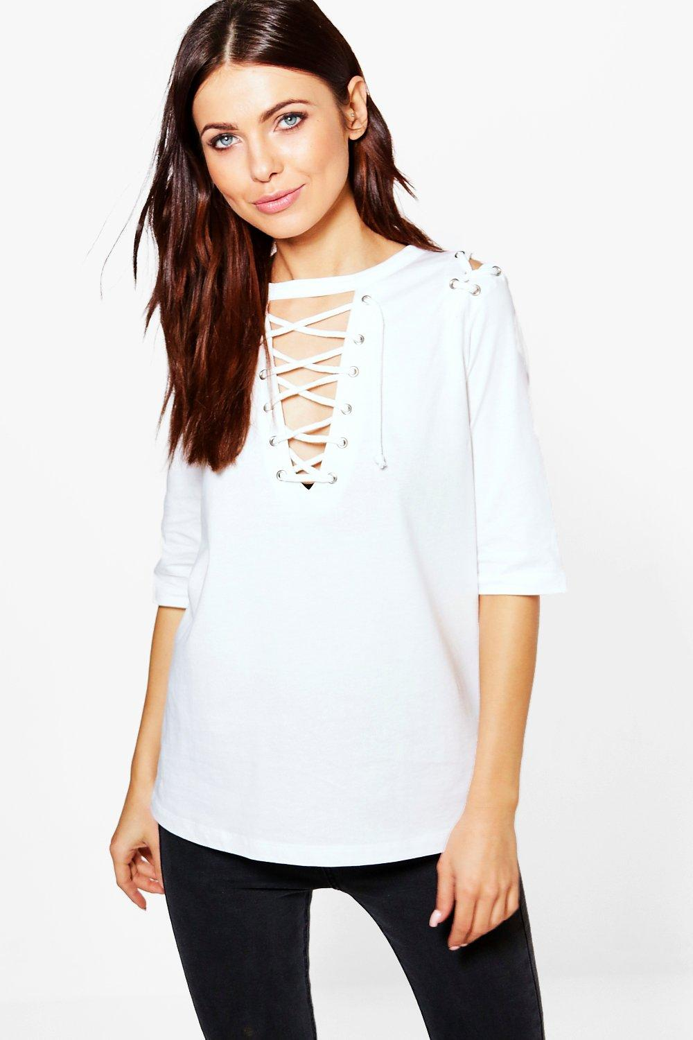 Fiona 1/2 Lace Up Front And Shoulder Tee