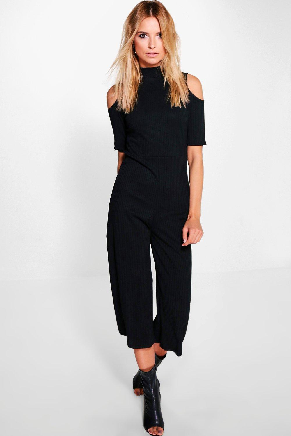 Amy Cold Shoulder High Neck Ribbed Culotte Jumpsuit