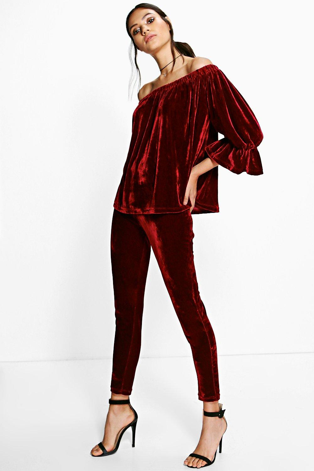 Lucie Velvet Off The Shoulder Trouser Co-Ord