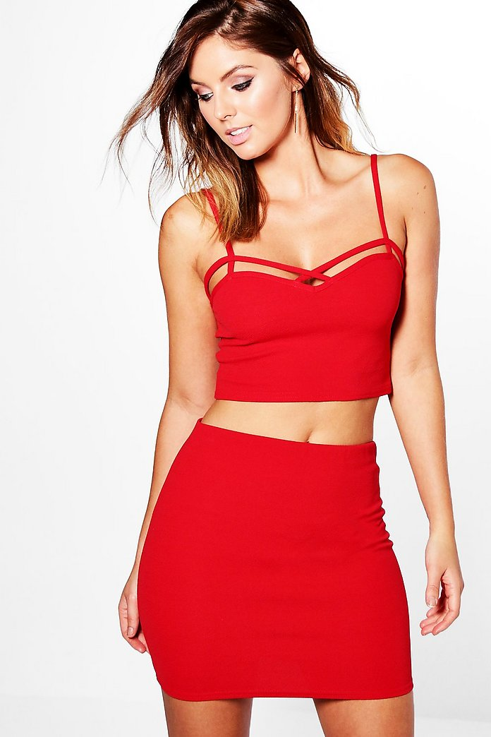 Nia Textured Strappy Bralet & Mini Skirt Co-Ord