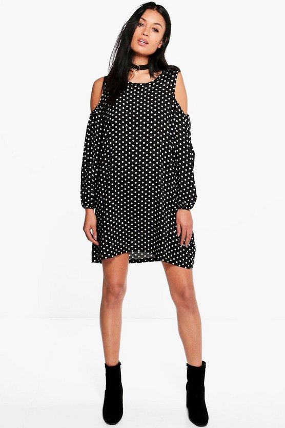 Marie Polka Dot Cold Shoulder Swing Dress