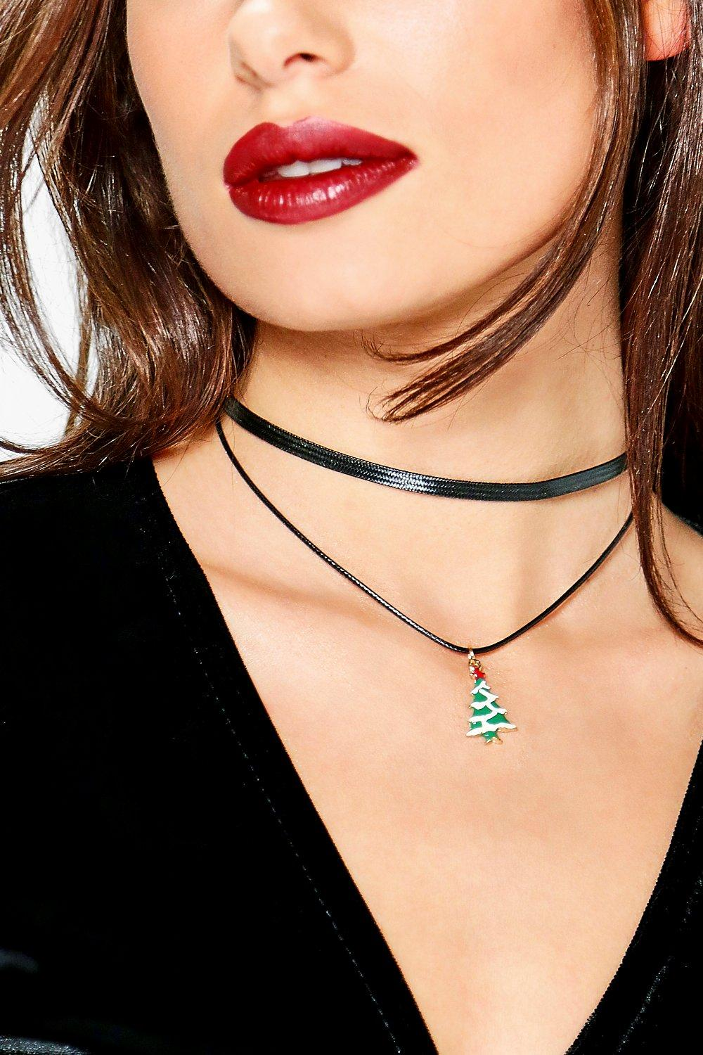 Lucy Christmas Thin Cord Tree Pendant Choker
