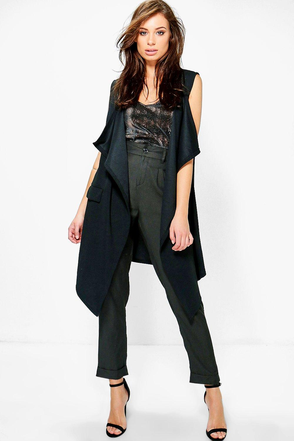 Hannah Textured Sleeveless Waterfall Jacket