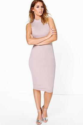 Charlotte Structured High Neck Midi Dress