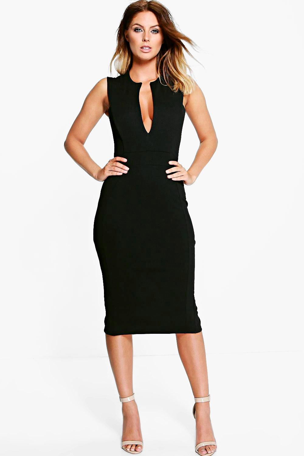 Maisie Structured V-Neck Midi Dress