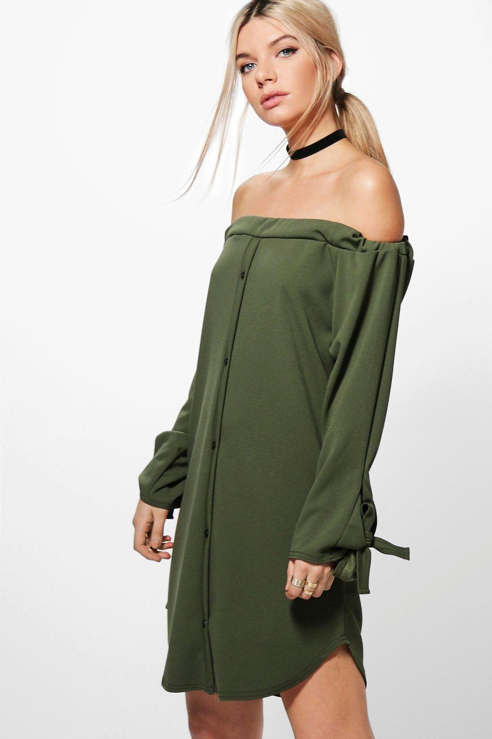 Amelie Off Shoulder Tie Sleeve Shift Dress