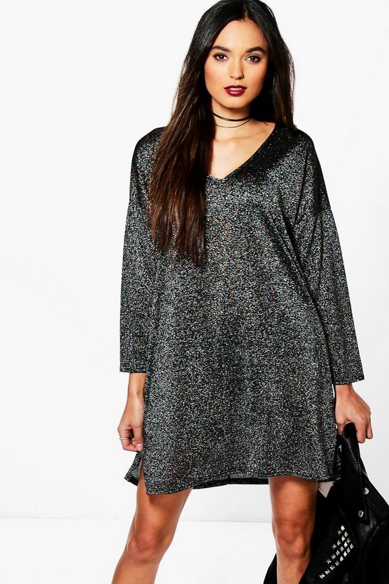 Emma V Neck Glitter Shift Dress
