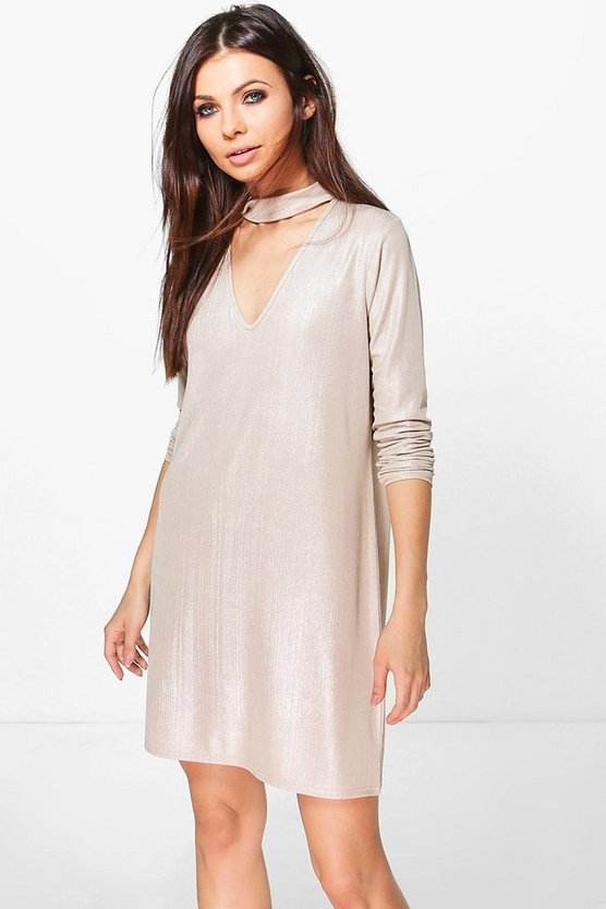Metallic Choker Shift Dress