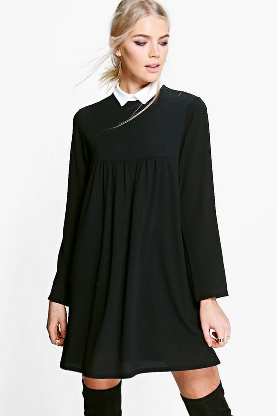 Demi Colour Full Sleeve Shift Dress