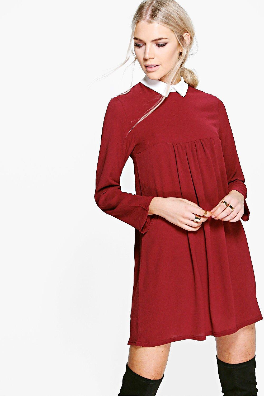 Colour Full Sleeve Shift Dress - merlot