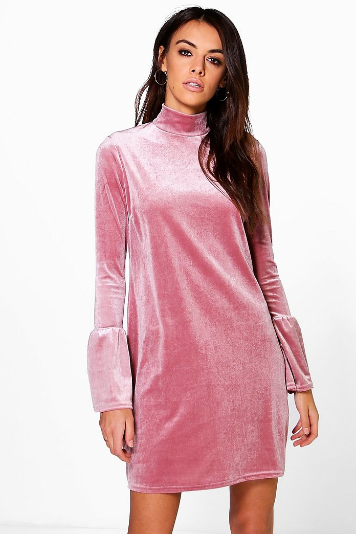 Lucie Flute Sleeve Velvet Shift Dress
