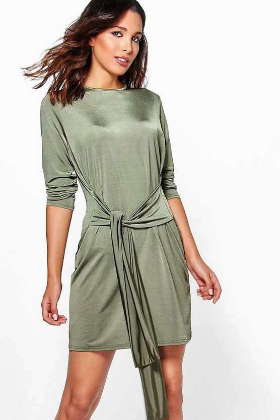 Alessa Wrap Detail Slinky Bodycon Dress
