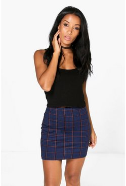 Scarlet Stripe Tonal Check Mini Skirt