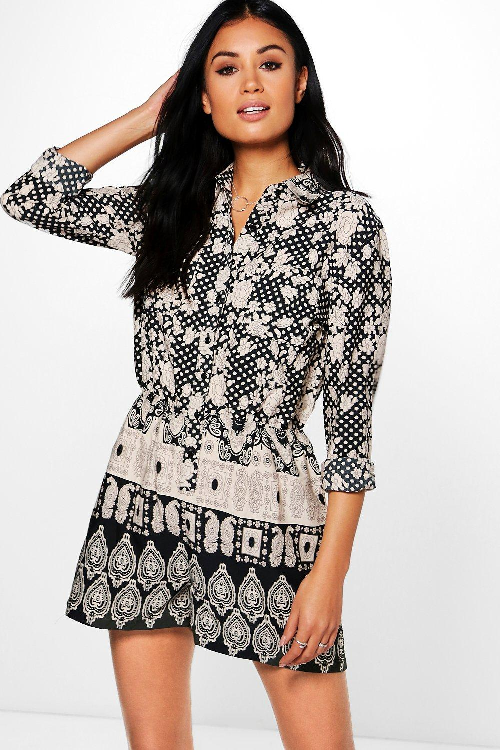 Sophie Multi Print Shirt Style Playsuit