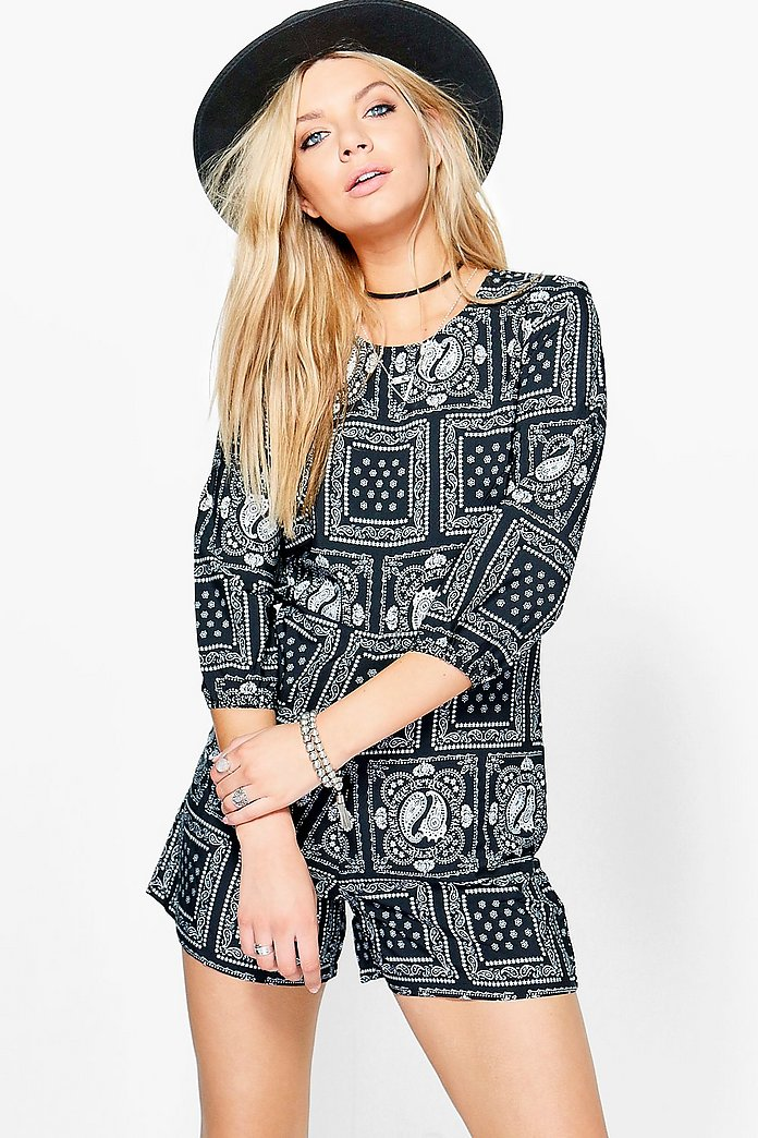 Hannah Multi Paisley Print 3/4 Sleeve Playsuit