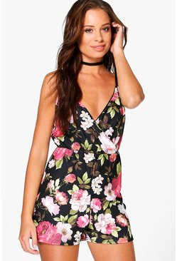 Rosina Floral Wrap Over Cami Playsuit