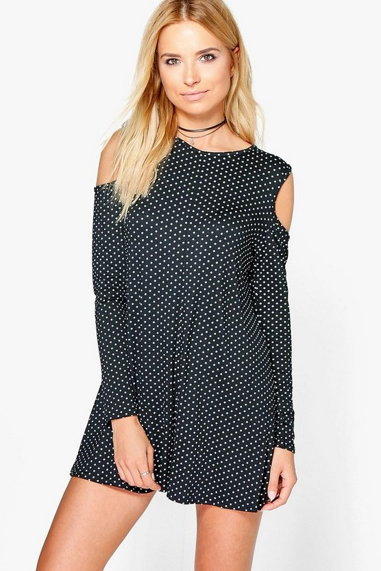 Molly Cold Shoulder Polka Dot Swing Playsuit