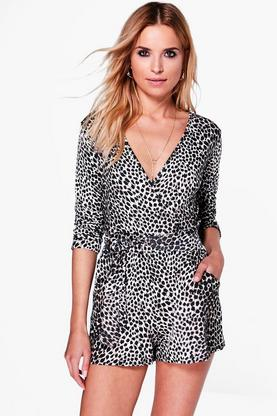Claire Animal Print Wrap Belted Playsuit