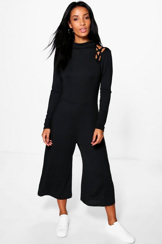 Lattice Cold Shoulder Knitted Jumpsuit