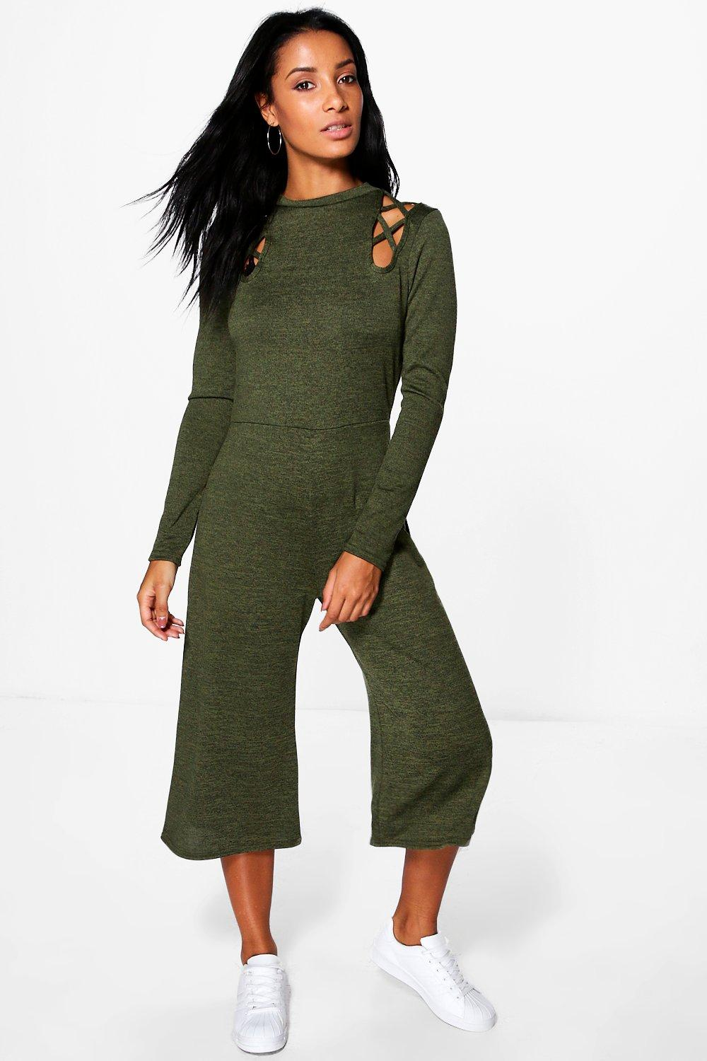 Lattice Cold Shoulder Knitted Jumpsuit  khaki