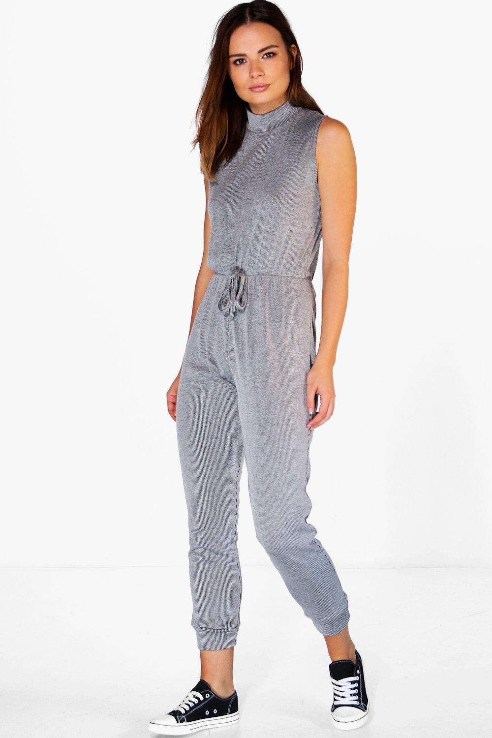 Lola Casual Ribbed High Neck Jumpsuit
