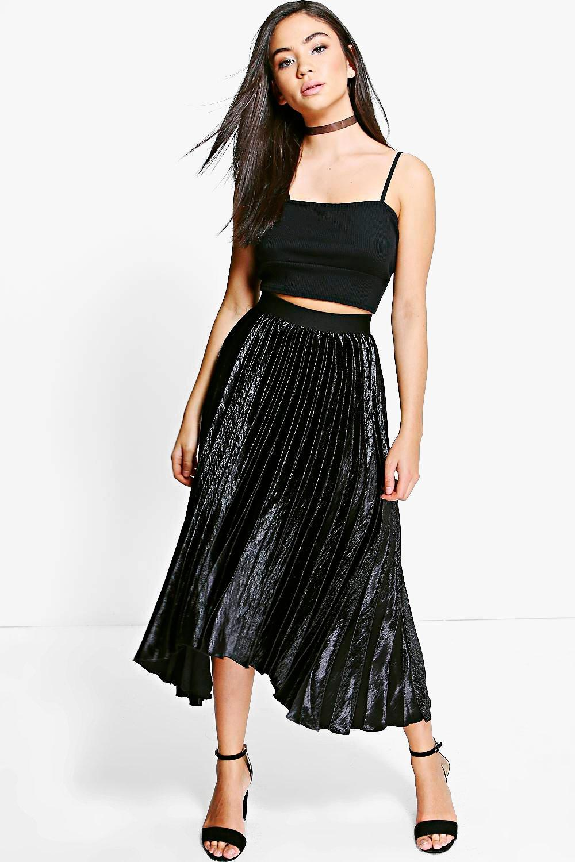 Boutique Ina Pleated Satin Midi Skirt at boohoo.com