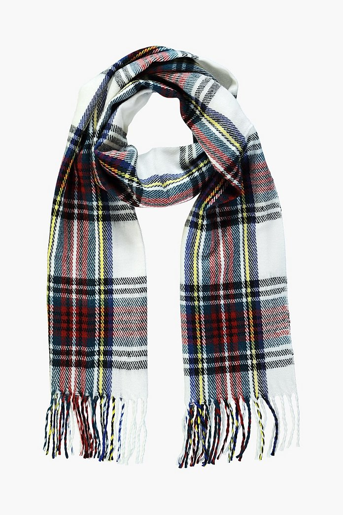 Olivia White Brushed Check Scarf