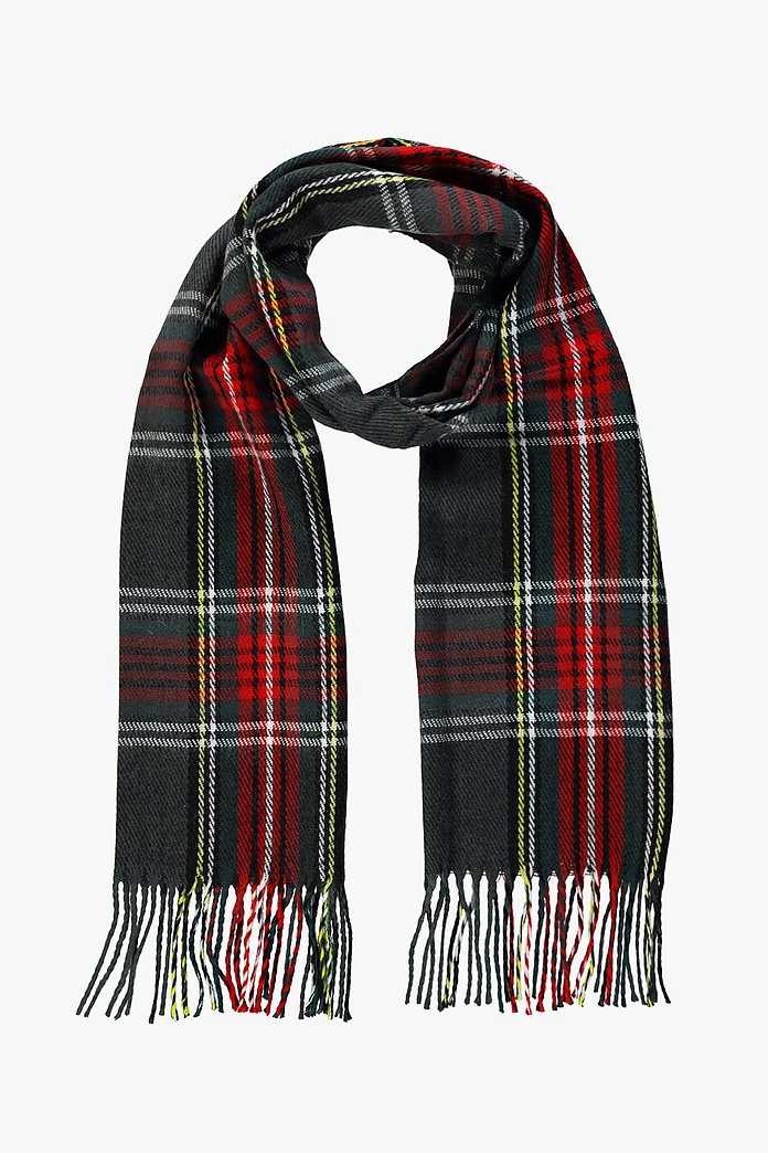Lily Grey Brushed Check Scarf