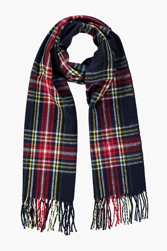 Jessica Blue Brushed Check Scarf