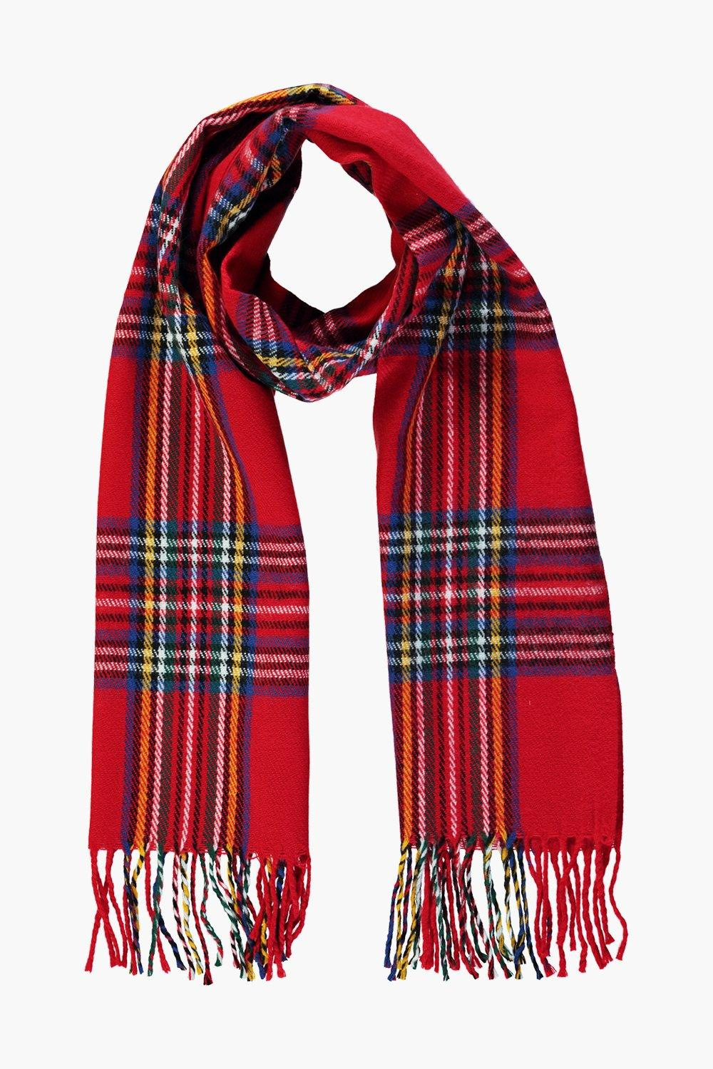 Ruby Red Check Brushed Scarf