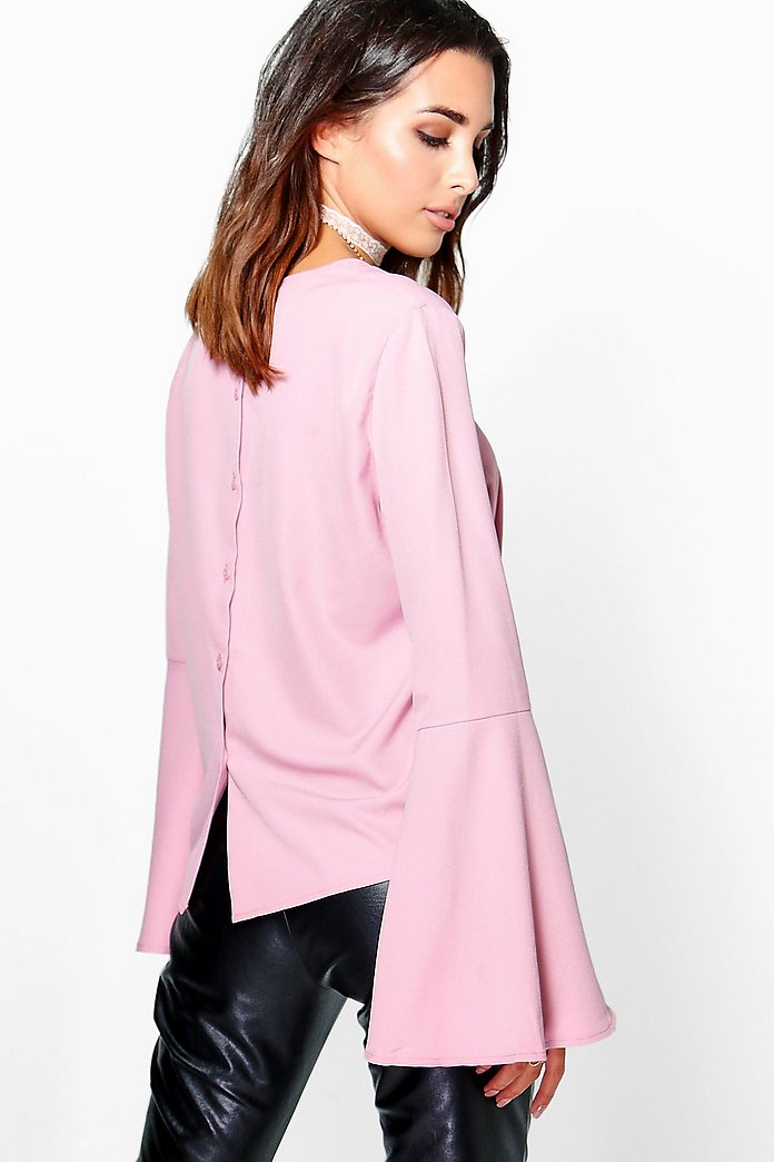 Bella Flute Sleeve Button Back Blouse