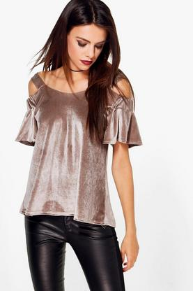 Faith Cold Shoulder Velvet Top