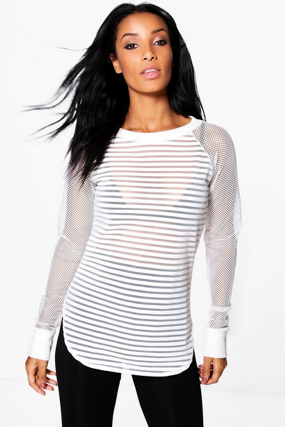 Abigail Striped Mesh Sweatshirt