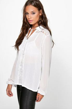 Victoria Pleated Lace Panel Tie Neck Blouse