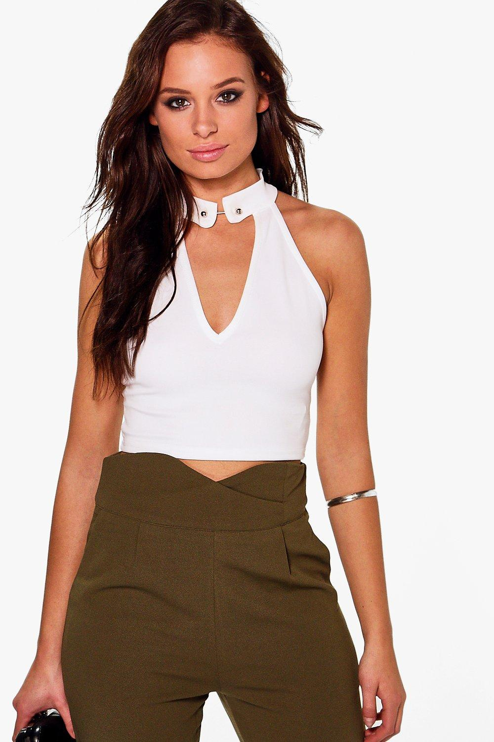 Holly Choker Bar Detail Crop Top