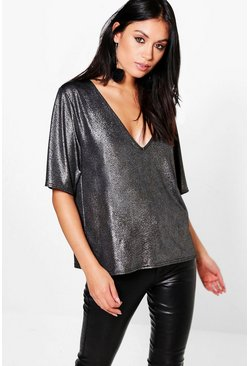 Olivia Metallic Oversized Plunge T-Shirt