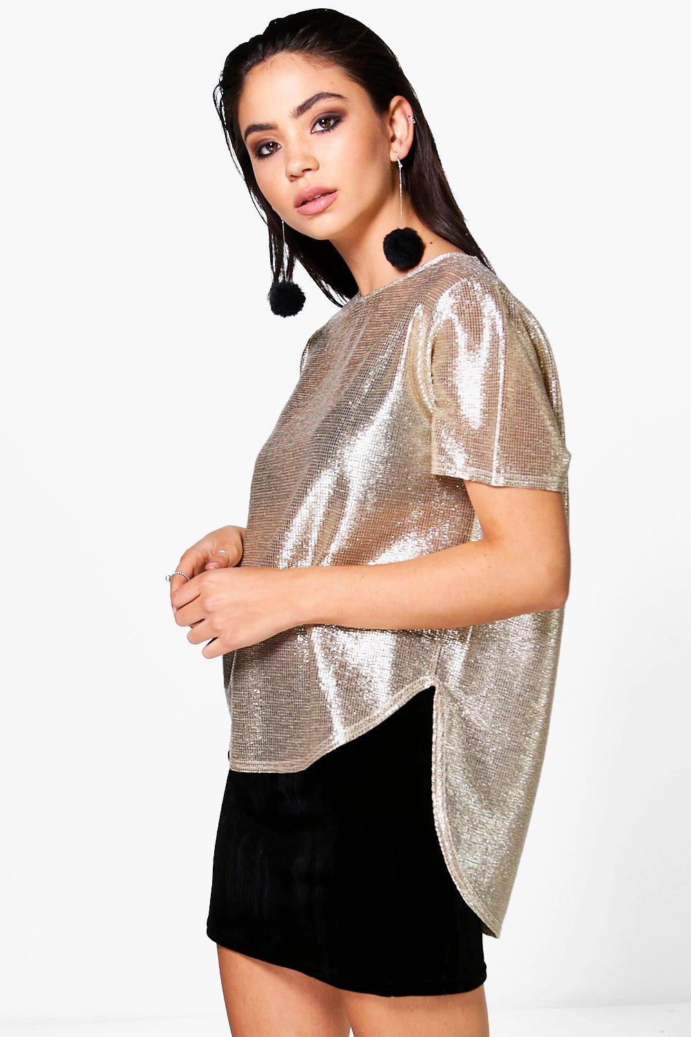 Ruby Metallic Dip Back T-Shirt