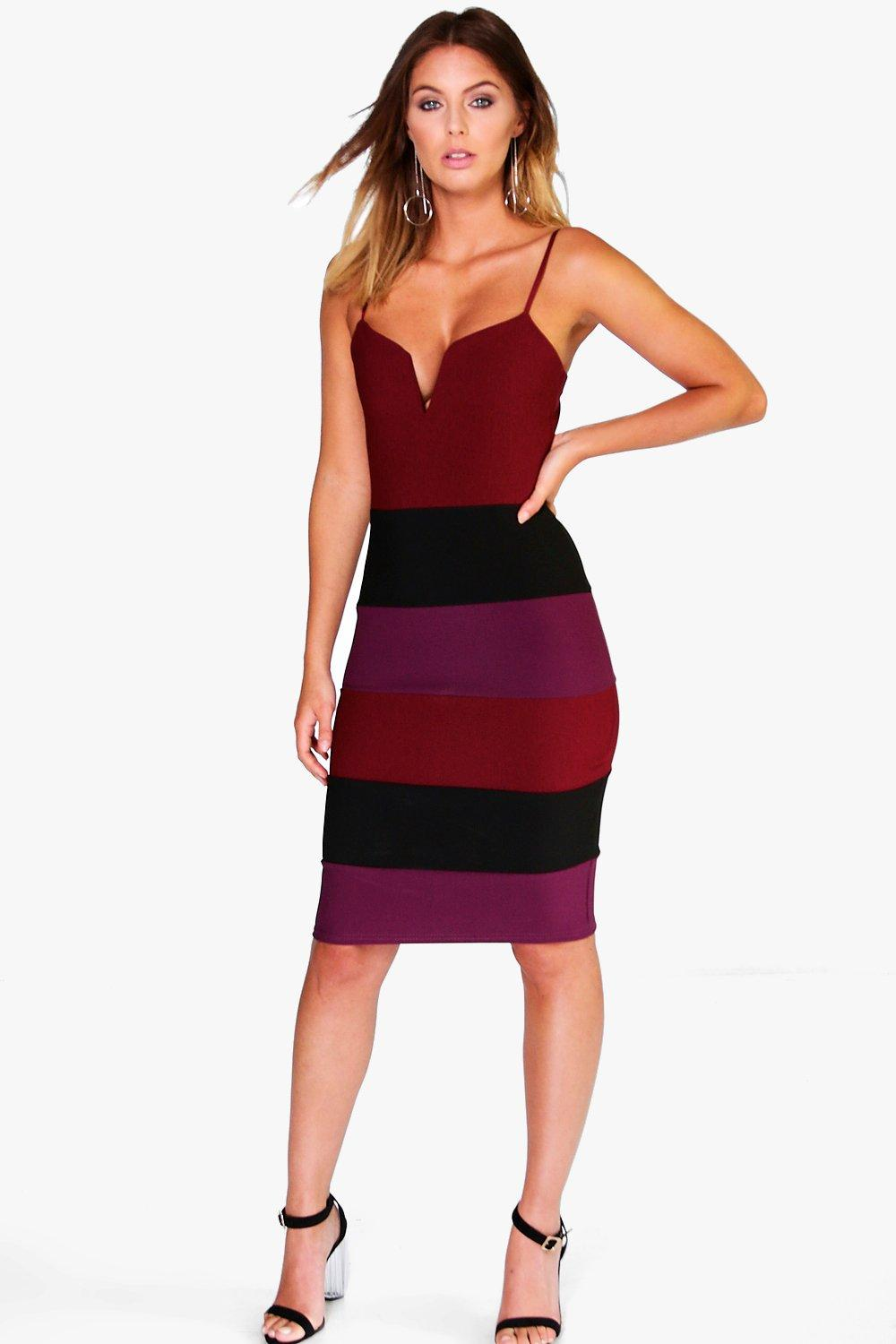 Elouise Bandage Colour Block Midi Dress